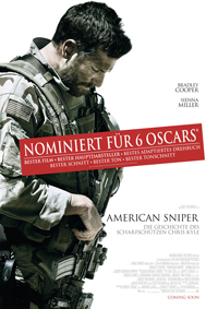 """Nicht nur für sechs Oscars nominiert: """"American Sniper"""" überholte bereits """"Der Soldat James Ryan"""" (1998) als erfolgreichsten Kriegsfilm aller Zeiten."""