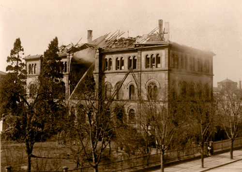 Anatomisches Institut der Universität Freiburg nach dem Luftangriff vom 14. April 1914 (M 7061)