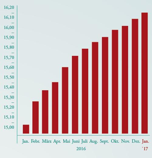 Rasanter Anstieg: Zahl (in Mio.) der sich im Umlauf befindlichen Bitcoins.