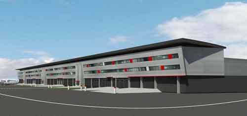 So soll sie aussehen, die neue Cargohalle am EuroAirport. Visualisierung: EAP