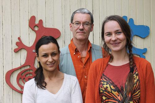 Malerei, Musik, Tanz: Laila Sahrai (li.), Michael Kiedaisch (mi.) und Liga Saukante (re.) gestalten die Sommeraktion des depot.K mit.