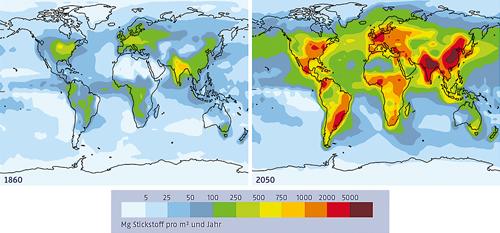 Massive Entwicklungen in nur 200 Jahren: Der Stickstoffeintrag auf die Erde infolge menschlicher Aktivitäten.