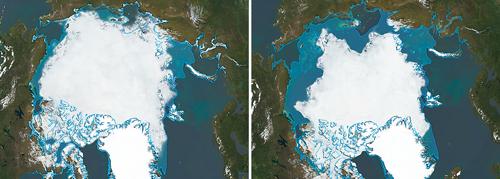 Arktisches Eis auf dem Rückzug: 200o und 2010 (links).