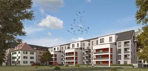 Bauprojekt am Rennweg: Wo einst der Gründungsbau der Genossen stand entstehen derzeit 48 neue Wohnungen. Visualisierung: Familienheim