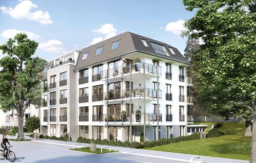 Manche mögen's klassisch: An der Mozartstraße, direkt gegenüber vom Stadtgarten, entstehen acht Eigentumswohnungen.