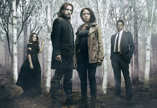 Vergangenheit und Gegenwart vereint gegen das Böse: von links Katrina Crane (Katia Winter), Ichabod Crane (Tom Mison), Grace Abigail Mills (Nicole Beharie) und Frank Irving (Orlando Jones).