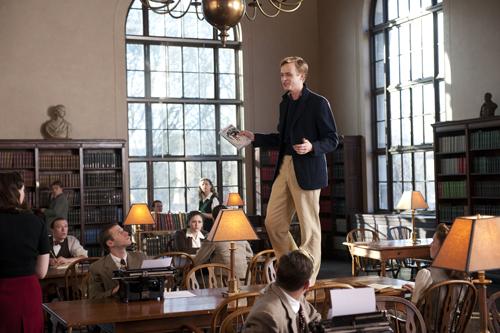 Zusammen mit Jack Kerouac (Jack Huston, links) planen Allen (Daniel Radcliffe) und Lucien (Dane DeHaan, rechts) einen Einbruch in die Universitätsbibliothek.