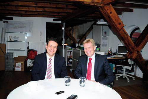 Betreuen 14,6 Milliarden Kundengelder: Volksbank-Vorstand Uwe Barth (l.) und Sparkassen-Chef Marcel Thimm.