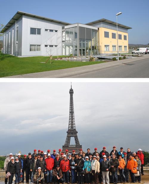 Ausflug:  Zum 20-Jährigen fuhr fast die ganze Firma vom Stammsitz in Teningen (oben) nach Paris.