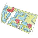 Geplante Projekte: Die roten Häuser mit 46 Wohnungen, die meisten mietpreisgebunden, will das 3HäuserProjekt bauen.