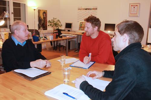Gekommen, um zu streiten: Michael Fleiner (l.) und Corin Fischer im Büro von chilli-Redakteur Felix Holm.