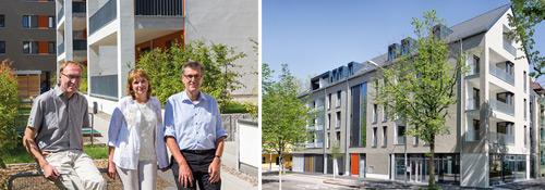 Hinguckergebäude an markanter Ecke: Auch Bürgermeister Martin Haag (links) war beim Rundgang mit Anja Dziolloß und Werner Eickhoff angetan von dem Neubau an der Ecke Rennweg und Komturstraße – wo einst der Gründungsbau der Genossen stand.