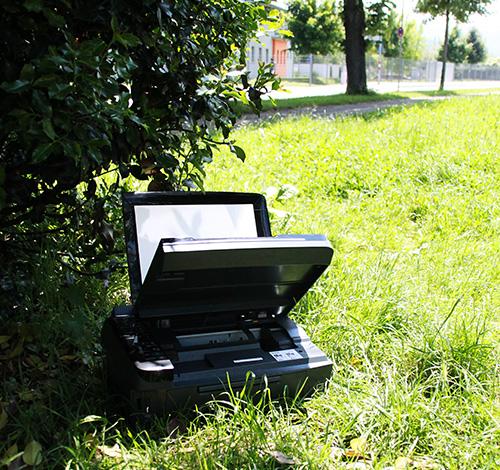 Ein ausrangierter Drucker.