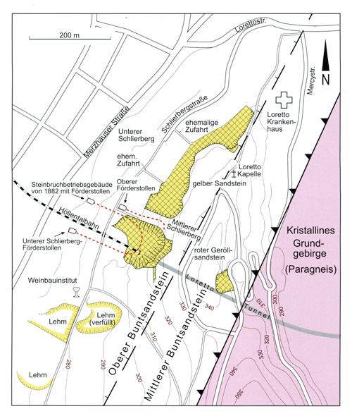Die Karte zeigt die Lage der historischen Steinbrüche am Lorettoberg.