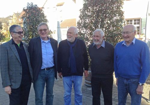 Die fünf vorm Schützen: Adalbert Häge, Wulf Daseking, Bernhard Utz, Paul Bert und Klaus Humpert (v.l.).