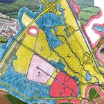 So stellen sich die Ex-Stadtplaner es vor: Zwischen dem Stadtteil Rieselfeld (1) und dem neuen Stadtteil Rieselfeld II (2) soll ein Stadtpark (6) entstehen. Das östlich liegende Dietenbachgelände (siehe Luftbild) soll dann unter Naturschutz gestellt werden.