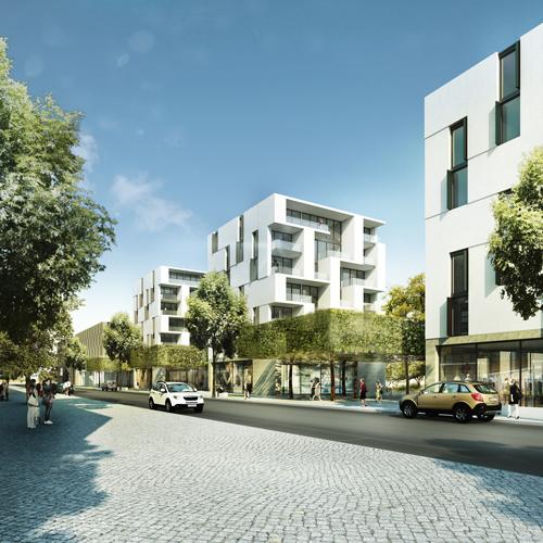 Hingucker: Die Wohnhäuser wurden von Sacker Architekten geplant.