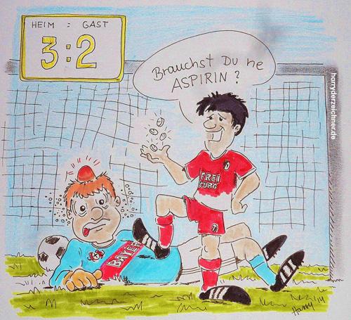 Was machen nach dem 3:2 des SC über Leverkusen? Harry dem Zeichner fiel sofort was ein. Karikatur: www.harryderzeichner.de