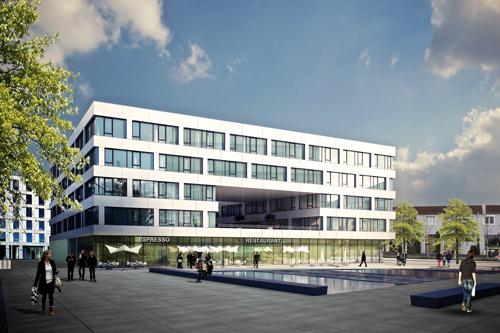 Ansichtssache: Südlich des neuen Bürogebäudes locken ein Quartiersplatz samt Wasserfläche zur Mittagspause.